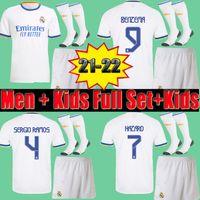 21 22 Real Madrid Futebol Jerseys Men + Kids Uniform Full Set Kits Jersey Shorts Socks 2021 2022 Hazard Sergio Ramos Benzema Rodrygo ISCO Asensio Nacho Footall Camisas