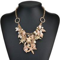 Collier de perles simulée de conque Starfefish Sweet Fashion Mer Star Multitiere Colliers Pendentifs Pour Femmes De Mariage Bijoux