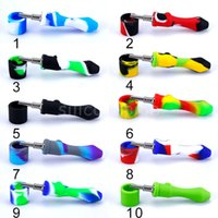Narkhahs tuyau silicone avec kit de n ongle Ti kit de kit de nez 10mm gr2 remplacement titane pointe de titane CAP DAB plates-plates cire brûleur huile DHL