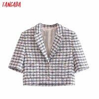 Women's Suits & Blazers Tangada Women Tweed Crop Blazer Coat Vintage Notched Collar Pocket 2021 Fashion Female Casual Chic Tops 3H82