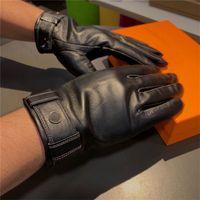 Gant de peluche soyeux Gant de cuir personnalisé Mitaines Hommes hiver chauds gants doux de mode gentleman voyage mitaine avec boîte