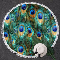 Towel BlessLiving Peacock Feather Round Beach For Adult Fantasy Sparkly Picnic Mat Bird Tapestry With Tassel Turquoise Blanket