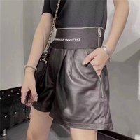 Femmes Luxe Sheewekin En Cuir Short Taille High Taille Élastique Courtes Pantalons Designer Marque Mode Fashion Dames Pant Vêtements
