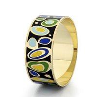 VAROLE Trendy Jewelry 28mm Wide Big Colorful Enamels Bracelets & Bangles Luxury Gift For Women Cuff Bracelet Female Pulseiras