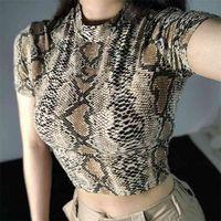 Sexy Crop Top Mulheres Snake Imprimir Tanque Slim Primer Colete Collar Harajuku Camiseta Femme Meninas Camis 210607