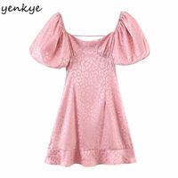 Yenkye Seksi Backless Pembe Leopar Elbise Kadınlar Kare Boyun Puf Kollu Yüksek Bel A-Line Mini Parti Elbiseler Yaz Vestido Mujer 210309
