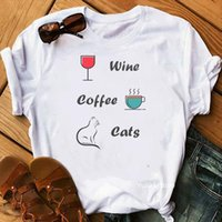Più nuovo divertente vino caffè palestra donna t shirt cani gatti pizza stampa anni '90 graphic tees femme white streetwear carino tumblr