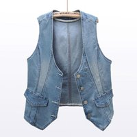 Bahar Kore Esneklik Kısa Kot Yelek Kadınlar Yelek V Yaka Ince Denim Yelek Kadın Kolsuz Ceket Ceket Casual Streetwear
