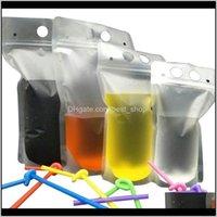 500 unids Bolsas de bebidas claras Bolsas con cremallera helada Bolsa de consumo de plástico con paja con el titular a prueba de calor reclateral 17oz ST454 G PXWSH