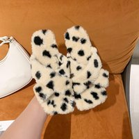 Slippers Shoes Ladies' Fur Flip Flops Luxury Slides Flock Slipers Women Leopard Flat Plush Designer 2021 Massage Basic C