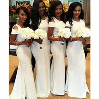 White Mermaid Arabic Bridesmaid Dresses Scoop Neck Satin Floor Length Simple Style Long Women Party Dresses For Weddings
