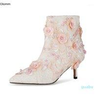 Buty olm kobiety kwiat kostki ładne perły szpilki szpilki szpiczaste palce wspaniałe białe buty ślubne plus