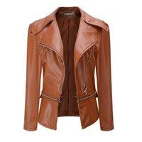 Women's Leather & Faux Rosetic Gothic Motorbike Woman Slim PU Coats 2021 Spring Women Jacket Black Zippers Long Sleeve Goth Female