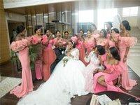 Blush Pink Off Shoulder Bridesmaid Dresses African High Split Evening Prom Long Formal Wedding Guest Gown M114