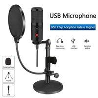 Micrófono condensador con trípode Micrófono de estudio de computadora USB para PC para teléfono karaoke con tarjeta de sonido
