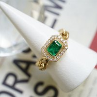 18K Solid Yellow Real Gold Jewelry(AU750) Women Designer INS Simple Chain Personalized Fashion Emerald Diamond Wedding Ring