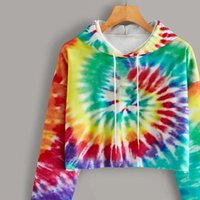 Hoodies Women Fashion Tie Dye Print Sweatshirt Oversized Dra...