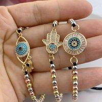 Charm Armbänder Einstellbare gewebtes Frauen Hamsa Evil Eye Hand Metall Perlen Geflochtene Seilschmuck