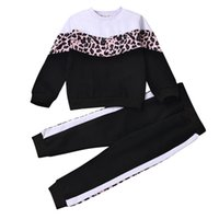 Baby Girls Cartoon Outfits Kids Splice Long Sleeve Tops Toddler Leopard Printed Sweater Elastic Trousers Girls Clothes Sets 061208