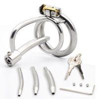 Aço inoxidável de aço de castidade masculina gaiola gaiola com cateter uretral pênis bloqueio galo anel brinquedos sexuais para homens cinto de castidade y201118