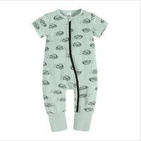 New Baby Girl Boy Rompers Printing O-Neck Zipper Cotton Short Sleeve Infant Pajamas Toddler Jumpsuit Bodysuit for Newborn