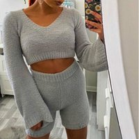 Women's Tracksuits Sexy Fluffy Two Piece Set Lounge 2 Women Sweater Tank Top And Pants Casual Homewear Femme Outfit Home Suit G1873
