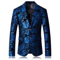 Fatos masculinos blazers lóio estampagem floral terno casamento fino formal fit casual homens blazer casaco masculino blusa masculina vestes veste homme cos