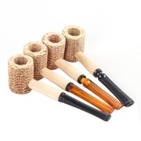 Corn Cob Pipe Disposable Natural Corncob Herb Tobacco Hammer Spoon Cigarette Filter Pipes Tools Accessories 145mm Length