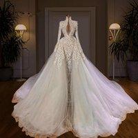 Dubai Luxury Mermaid Wedding Dresses Beading Pearls Long Sleeve Bridal Gowns Elegant Wedding Dress robes de mariée