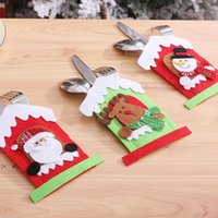 Santa Hat Reindeer Christmas New Year Pocket Fork Knife Cutlery Holder Bag Home Party Table Dinner Decoration Tableware Cover RRA9329