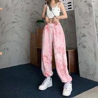 Y2k Pink Tie Dye Women Pants Casual Harajuku Baggy High Waist Vintage Korean Style Streetwear Female Harem