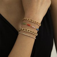 Colorful Acrylic Beaded Chains Bracelets Women Metal Full Diamond Hand Jewelry Sets Business Party Gold Chain Link Accessories