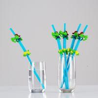 Paille de forme animale créative de dessin animé avec pinceau PP plastique tube rigide boisson boisson courbure de rôles Paws Opp Packaging GWB7632