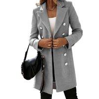 Artı Boyutu Ceketler Karışımları Vicabo Moda Kruvaze Kadın Gümüşme Yaka Uzun Trençkot Bayanlar Kış Sıcak Dış Giyim Kadın Yün