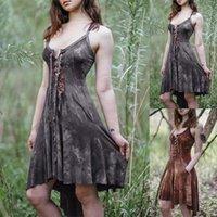 Casual Dresses Mittelalterliche Vintage Lace Up Gothic Kleid Frauen Hexe Elf Elven Kostüm Halloween Victorian Midi Lady Plus Größe 5XL
