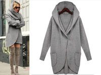 Women's Wool & Blends Zoulv Spring Hoodie One Button Simple Cardigan Long Sleeve Loose Big Hat Sweater Leisure Fashion Girl Warm Freestyle C