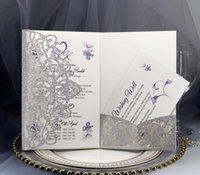 Tarjetas de invitación de boda personalizadas Conjunto completo Corte Laser Cut Hollowed-Out Pocket Tarjetas de felicitación para compromiso Fiesta de cumpleaños Boda EWD5513