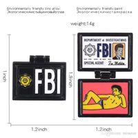 Mulders Wallet Flip Broooch 만화 커버 FBI 옷장 청바지 파일 핀 데님 배드 스프링 필드 핀 셔츠 가방 에나멜 보석 선물 XKGNS
