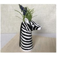 Nordic Zebra Trojan Cheval Création Création Céramique Fleur Insert Art Accueil Vase en forme de tête d'animal décoratif