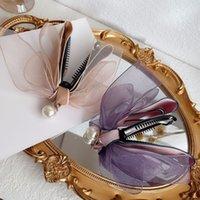 Coreano Roxo Malha Cabelo Cabelo Ribbon Tecido Curva Banana Clip Clip Garras Imitação Pérola Pano Bowknot Vertical Clipe Headwear