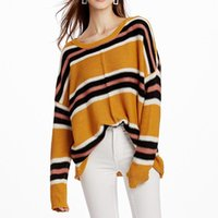 Women's Sweaters Liva Girl Autumn Loose Sweater Ladies Striped Knit Pullover