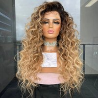 Deep Wave Curly Honey Blonde Ombre 360 Lace Front Human Hair Wigs for Women Water Wavy 180% Density Middle FULL lacewig Part Headband Wig Peruvian Remy