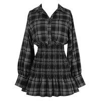 Casual Dresses 2021 Autumn Women Plaid Mini Skirt Dress England Style Lantern Long Sleeve Elastic High Waist Ruffle Hem Harajuku Femme Cloth