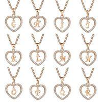클래식 로즈 골드 26 문자 다이아몬드 포장 된 사랑의 심장 펜던트 목걸이 알파벳 A-Z 초기 편지 목걸이 Womens 쥬얼리 선물 166 T2