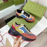 2021 ss Herren Rhyton Multicolor Schuhe Vintage Beige Designer Sneaker Höhe Erhöhung Schnürung Jacquard Stoff Leinwandplattform Outdoor Casual Schuhe