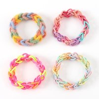 Hair Accessories DIY Lovers Rainbow Bracelet Little Red Net Ins Homemade Knitting Girlfriends Rope Girl Small Rubber Band