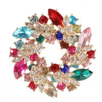 Crystal Brooches For Women Rhinestone Diamond Wreath Brooch Pins Luxury Bling Colorful Flower Wedding Party Jewelry Floral Bouquet Broach Christmas Gift 13 colors