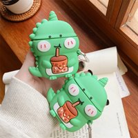 For Airpod Cases 2021 New 3D Cartoon Milk Dinosaur Earphone Case Wireless Charging Cover Silicone For Airpods Pro Accessories with Hook