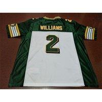 668 Edmonton Eskimos # 2 Gizmo Williams White Green Real Full Stickerei College Jersey Größe S-4XL oder benutzerdefinierte Neiner Name oder Nummer Jersey