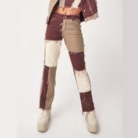 022103 Patchwork Düz kadın kot pantolon Baggy Vintage Yüksek Bel Erkek Arkadaşlar Anne Y2K Denim Sıkıntılı Streetwear 2021 Kadın Iamhotty